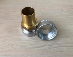 Переходник с 60 мм (крупная резьба) на штуцер ( алюминиевый переходник с латунным штуцером)