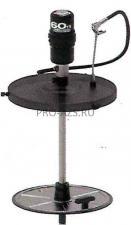 Мобильный пневматический солидолонагнетатель с насосом 60:1 и катушкой  для бочек 185 кг на телеге