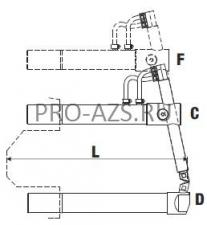Верхнее изогнутое плечо 610мм (тип F) с длинным электродом для клещей - TECNA 4767