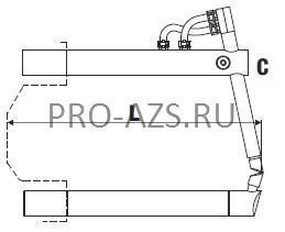 Верхнее изогнутое плечо 255мм (тип C) с коротким электродом для клещей - TECNA 4751